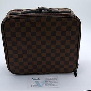 Brown Checkered Vegan Leather Make-up Case